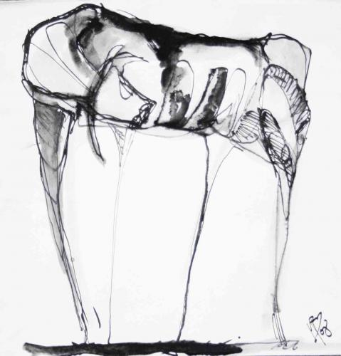 VACA FLACA - Tinta sobre papel - 20x20cm