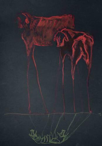 VACA Y TERNERO -  Pastel tiza sobre papel negro - 42x30cm