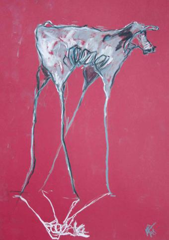 VACA SIN TERNERO -  Pastel tiza sobre papel rojo - 42x30cm