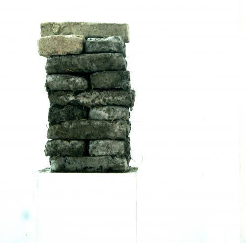 ENSAYO SOBRE LA NEGACIÓN  ladrillos de barro de Epecuén con ladrillos de la ciudad Epecuén44x25x60cm