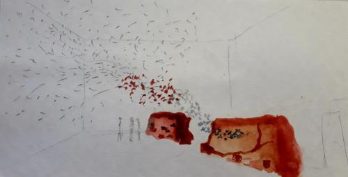 PROYECTO MURO - Boceto para instalación de muro de barro con colibríes saliendo