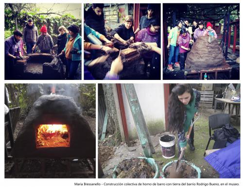 HORNO DE PAN -                            construcción colectiva con artistas y vecinos del barrio de horno de barro en los jardines del Museo De La Carcova - 2019