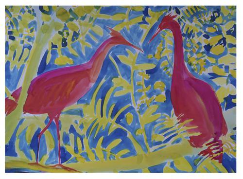 AVES - Tinta sobre papel - 50x70cm