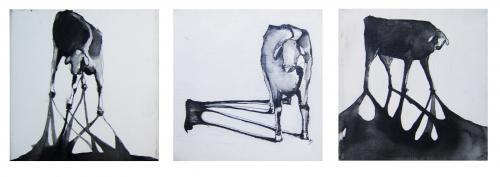 LA SOMBRA EN LA PAMPA - Tríptico - tinta sobre tela - 20x20cm c/u